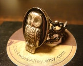 Victorian Style Owl Filigree Ring in Antique Silver (1397)