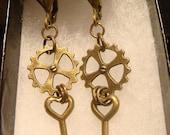 Antique Bronze Gears with Tiny Silver Heart Keys Steampunk Earrings  (1663)