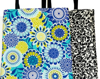 Blue and Yellow Flower Print Reversible Tote Bag