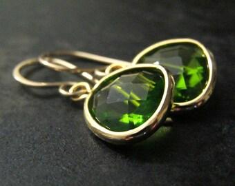 Peridot Earrings | Pendant Earrings | Gold Teardrop Earrings | Peridot Pendant Earrings