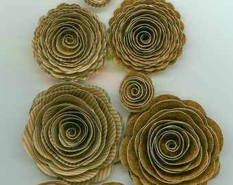 Bon Bon Daisy-Stripe Handmade Spiral Paper Flowers