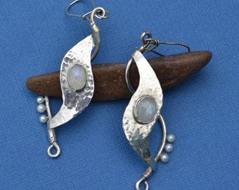 Formed Sterling Silver, Fine Silver Bezel Set Rainbow Moonstone, and Freshwater Pearl Earrings