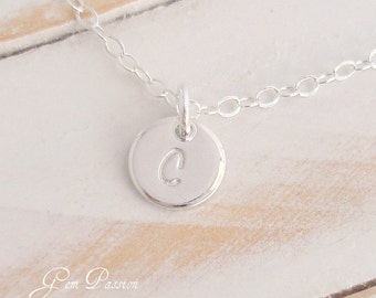 Tiny Sterling Silver Disc Initial Necklace / Personalized / Monogram / Handmade / Custom Hand Stamped NEW Script Font / Silver Charm Pendant