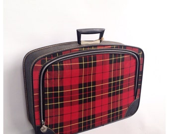 Lady Bostonian Red Plaid Suitcase
