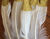 Gold glitter dipped feathers MEDIUM (10)