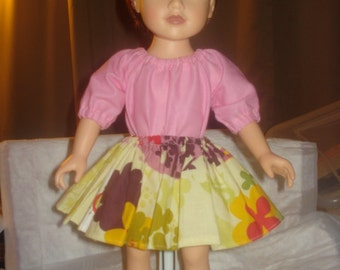 Full short floral skirt and pink Peasant top for 18 inch Dolls - ag121