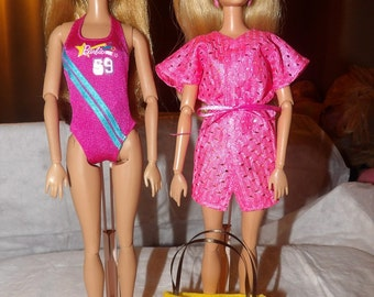 Pink logo swimsuit, pink cover-up and yellow tote bag set for Fashion Dolls - ed606