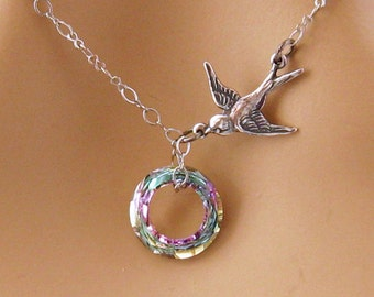 Swarovski Eternity Necklace, Purple Cosmic Ring Necklace, Swarovski Purple Crystal Necklace, Bird Vitrail Light Purple Crystal Jewelry Gift