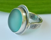 Aqua Sea Glass Sterling Ring, Sea Glass Ring, Sterling Sea Glass Ring