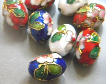 4 Oval Cloisonne Multi colored Metal and Enamel beads