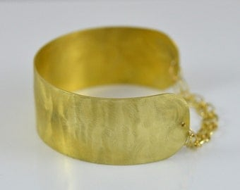 Wide Gold Cuff Bracelet with Gold Chain by Gioielli Designs