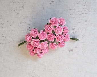 Mini Mulberry Paper Roses, Wedding, Scrapbooking, Mixed media, Pink