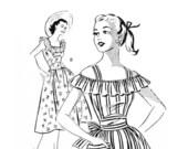 Vintage 1950s Summer Dress Pattern Off the Shoulder Mail Order 2717 Size 12 Bust 30