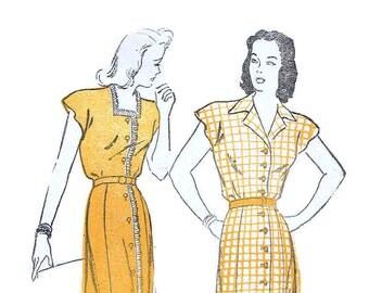 Vintage 1940s Summer Dress Pattern Uncut Bust 36 Size 18 New York 759