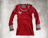 Red Top Heart/ Long Sleeve Gray Red/ Lovers Top