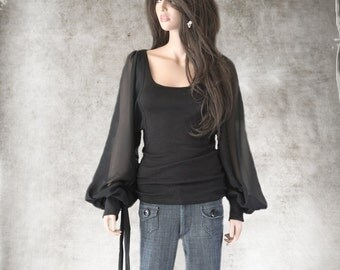 Black top women/Long Blouson sleeve/blouse knit tee