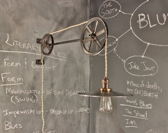 Vintage Industrial Pulley Lamp - The Draftsman - Antique Pulley Light - Drafting Table - Steampunk Lamp - Industrial Lighting - Workshop