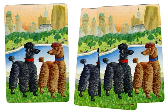 POODLES: a WALK in the PARK (3) Vintage Single Swap Playing Cards Paper Ephemera Scrapbook