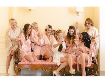 Bridesmaid Robes, wedding robes, bridesmaid silk robe, dressing gown, personalized silk robe, kimono robes, floral robe, bridal robe