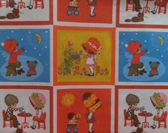 Vintage Hallmark Boy Girl Children Tea Party Garden Gift Wrap Wrapping Paper