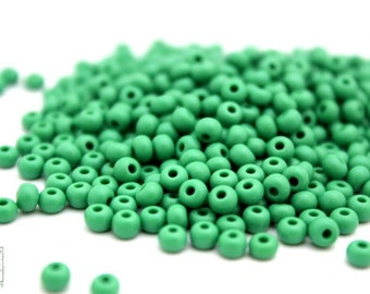 Green Seed Beads, 1oz Green 4mm Czech Glass Sead Beads, Size 6/0 350-400 Beads (G1)