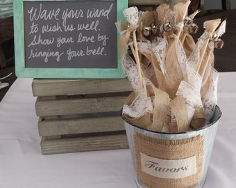 Rustic Wedding Wands: Burlap, Lace and Ribbon with Bells - Custom Colors- rustic chalkboard ribbon streamers- Set of 50