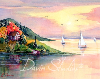 "Sailboats at sunset, cottage by the sea signed art print, sailboats heading for shore called ""The Cove."""