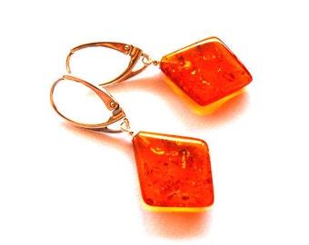 """Baltic Amber Earrings Diamond Shape 1.6"""""""