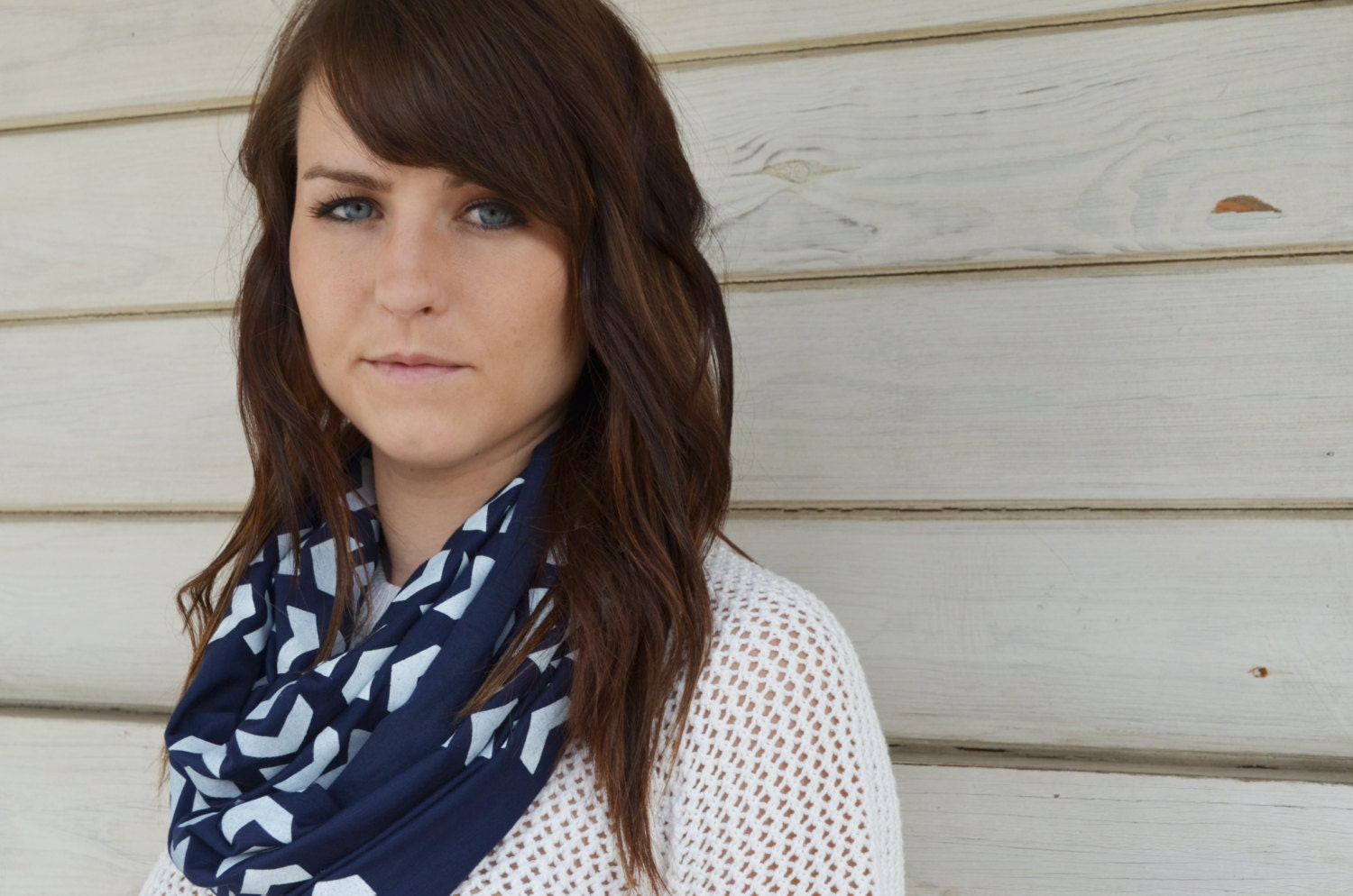 Chevron Infinity Scarf - Navy Blue - Chunky Arrows Scarf - Little Minnow Screen Printed
