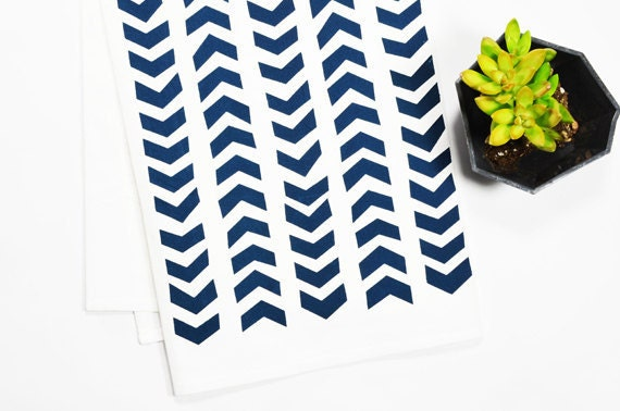 Tea Towel - Screen Printed - Navy Arrows on White