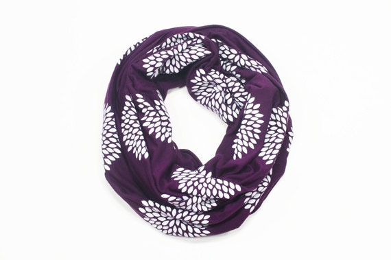 INFINITY SCARF - Screen Printed - White Flowers on Plum
