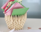 Housewarming gift idea - Origami Paper Bowl, natural look, desk accessory, pencil holder