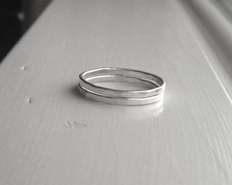 Double Stack, Two Sterling Silver Stacking Rings, Two Rings, Two Stacking Rings, Two Hammered Rings, Stacking Ring