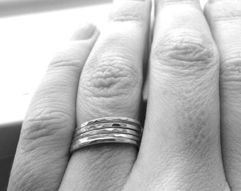 Stacking Rings, The Super Skinny Five Ring Stack, Five Sterling Silver Stacking Rings, Five Ring Bands, Sterling Silver Rings, Thin Rings