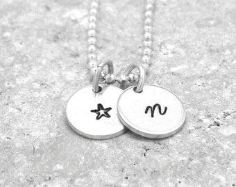 Initial Necklace, Small Star Necklace, All Letters Available, Sterling Silver Jewelry, Letter n Necklace, Hand Stamped Jewelry, Monogram, n
