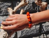 Pumpkin Orange Coral Bracelet, Exotic Chunky Bohemian Gemstone Bracelet with Brass Sterling Silver beads