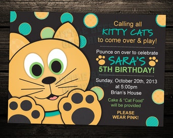 Cute Kitty Cat Birthday Party Invitation -- Any Color -- PRINTABLE INVITATION DESIGN