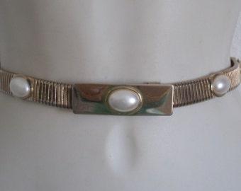 Sale Vintage Gold Metal Cinch belt IMOP Buckle Shiny Gold Stretch Belt with 5 MOP