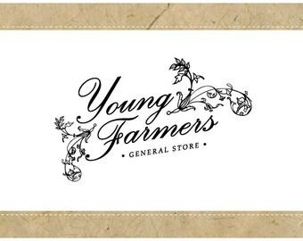 Custom Logo Design - PreDesigned Logo - PreMade Logo - Vector Logo - OOAK Logo - YOUNG FARMERS Logo Design - Vintage Logo - Antique Logo