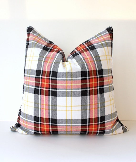 Plaid Tartan Decorative Designer Pillow Red Black Accent Throw