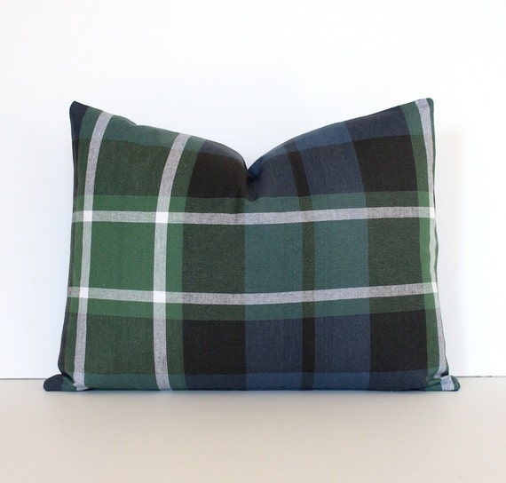 Modern Plaid Pillow : Modern Plaid Designer Pillow Cover lumbar 12x16 by WhitlockandCo