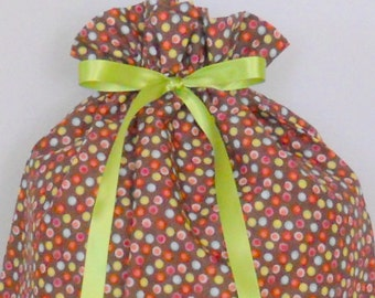 Multi-Colored Dots on Brown Large Fabric Gift Bag - Polka Dots, Small Dots, Lime Green, Blue, Pink, Red, White, All Occasion