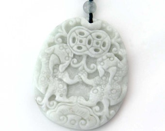 Talisman One Bead Lucky Double Pi-Xiu Dragon Coins Amulet Pendant Natural Stone 45mm x 38mm  TH255