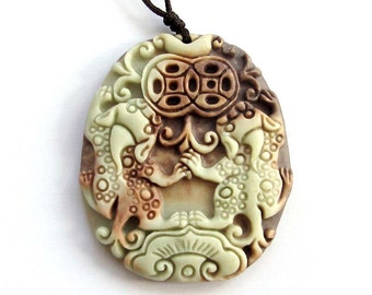 One Bead Two Layer Natural Stone Lucky Happy Pi-Xiu Dragon Coin Yuanbao Amulet Pendant 46mm x 38mm  ZP028