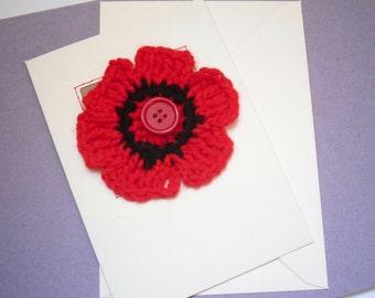 Crochet Flower Greetings Card, Red Flower Card, Birthday Card
