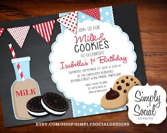 Milk and Cookies Birthday Party Invitation Kids Chalkboard Printable
