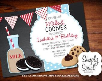 Milk and Cookies Birthday Party Invitation Kids Chalkboard Printable