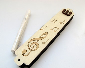 Mezuzah Case music notes cream and tan brown wooden mezuzah for children babies and adults jewish unique gift