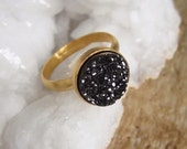 Black Druzy Ring Titanium Druzy Stacking Ring Drusy Quartz Gold Vermeil One Size Fits All