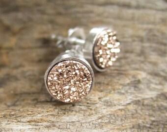 Tiny Rose Gold Druzy Earrings Titanium Drusy Quartz Studs Sterling Silver Bezel Set Rhodium Plated